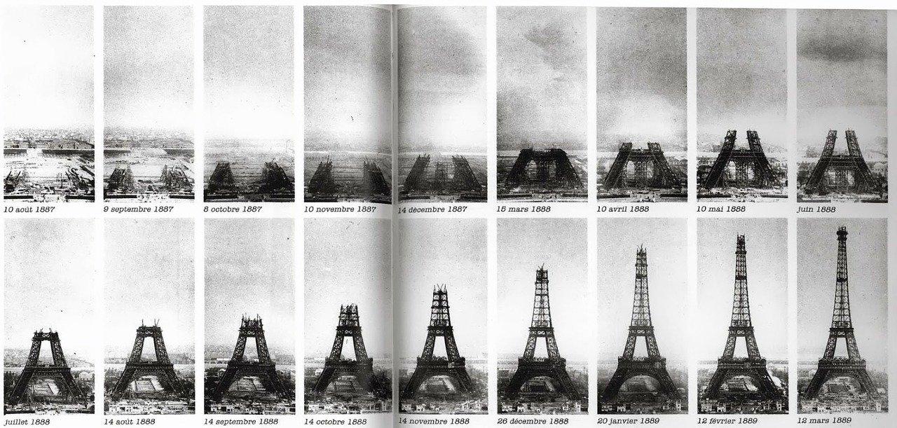 eiffel tower, construction, paris