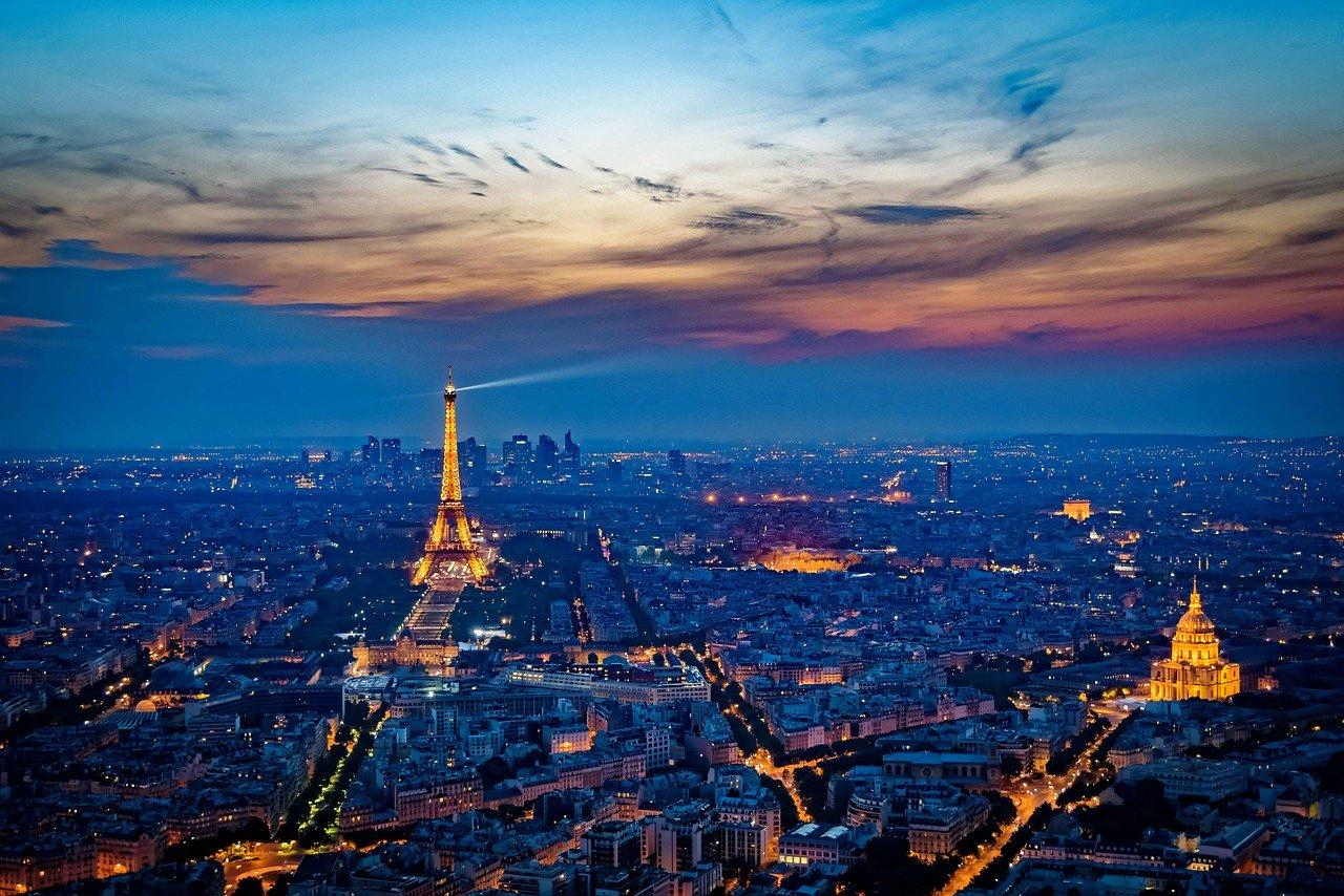 eiffel tower, france, sunset
