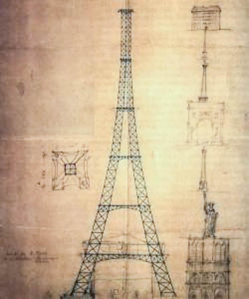 Turnul Eiffel, schita