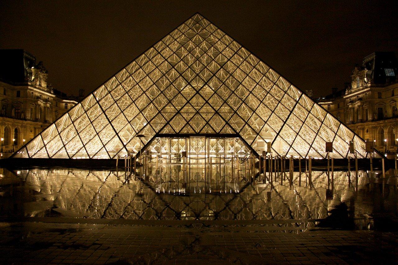 louvre, glass pyramid, paris