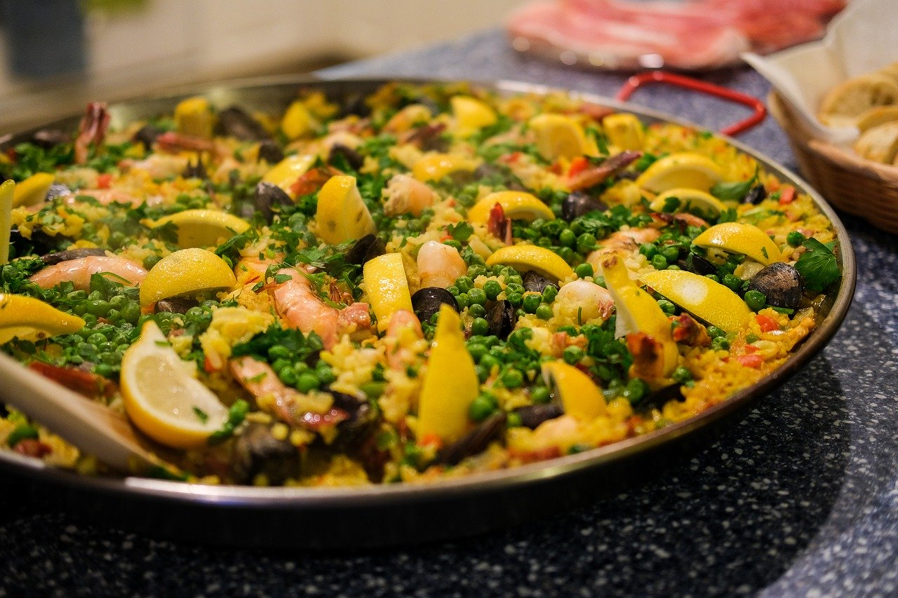 spanish paella, dish, seafood