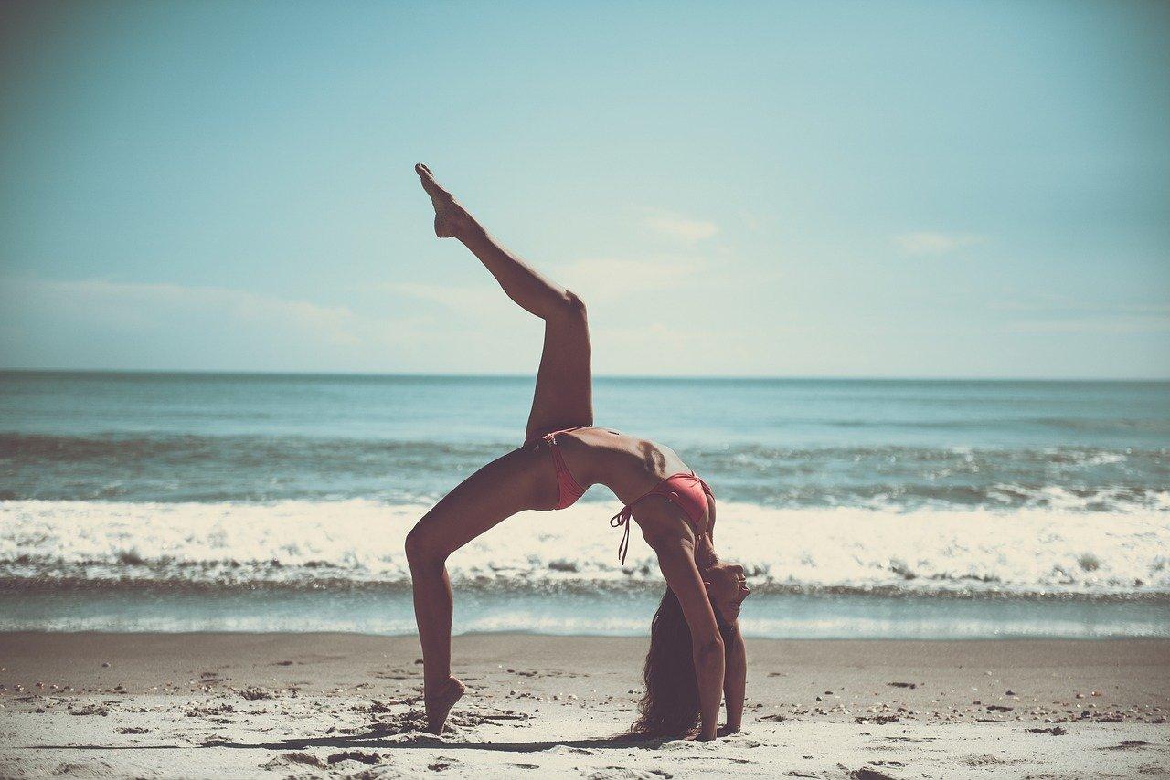 beach, yoga, athlete
