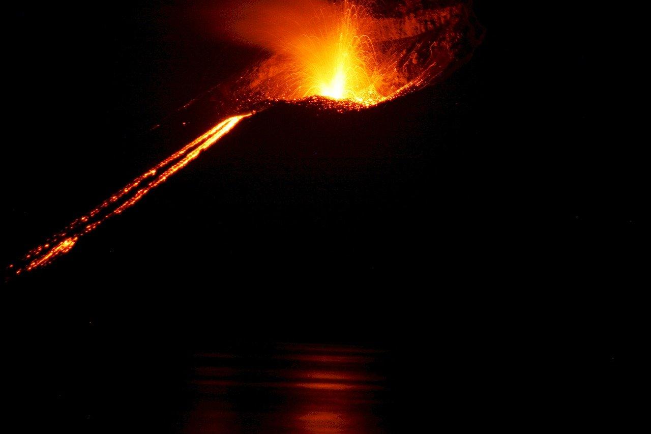 volcano, erupting, mountain